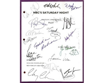 Saturday Night Live Pilot Episode TV Script Autographs: John Belushi, Chevy Chase, Dan Aykroyd, Jane Curtin, Garrett Morris, Gilda Radner