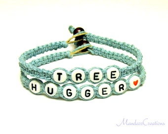 Light Blue Bracelet Set, Tree Hugger Hemp Jewelry, Black Friday Cyber Monday Sale