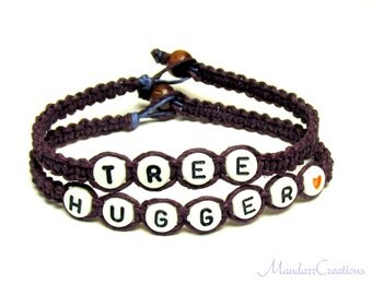 Tree Hugger Bracelets in Plum Purple, Hemp Jewelry for Nature Lovers, Made to Order, Black Friday Cyber Monday