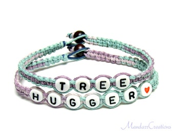 Tree Hugger Pastel Bracelets, Set of Two, Macrame Hemp Jewelry for Nature Lovers, Black Friday Cyber Monday Sale
