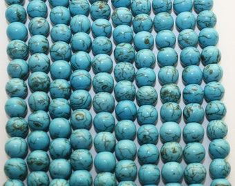 Blue Bright Turquoise Color Howlite Round Bead - 10mm - 44ct  - D107