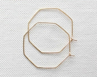 Geometric Hoop Earrings | Gold Hoop Earrings | Thin Gold Hoops | Silver Hoop Earrings [Hexis Earrings]