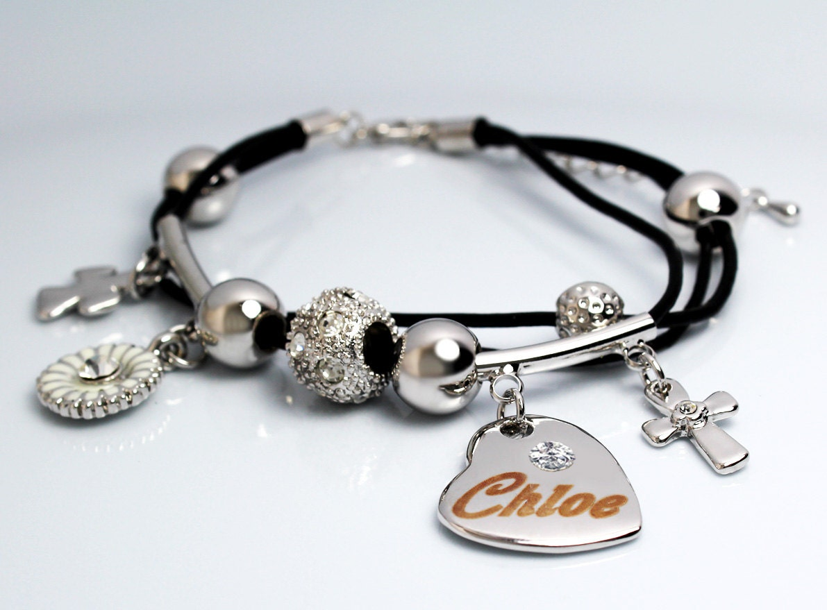 Name Bracelet Chloe  Personalised Ladies Genuine Leather 18ct White Gold  Plated Engraved Name Heart Charm