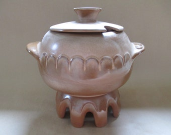 Frankoma Pottery; Bean Pot, Tureen, Frankoma Lazy Bones, Frankoma Plainsman Brown, Frankoma Tureen,  3 Qt. Tureen And Warming Stand