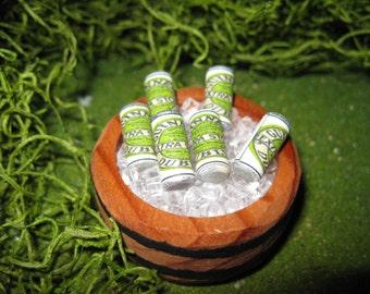 Fairy Garden House Fairy Garden Beer Tub with Mini Ice and Six Pack