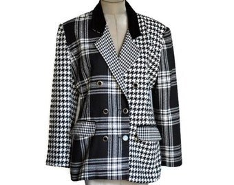 90's Vintage Houndstooth and Plaid Double Breasted Jacket / Black and White / Large