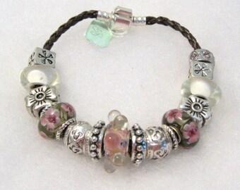 158 - CLEARANCE - Brown & Pink Bracelet