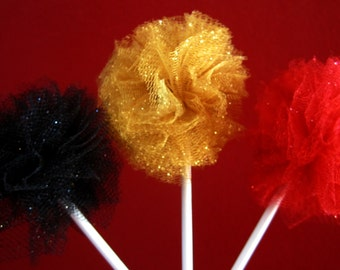 Set of 6 tulle poms- Red, Black and Gold- Cupcake topper- Cupcake pom- Pom pom- Tulle pom- Movie party