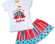 Girl's Circus Outfit with Circus Shirt and Striped Circus Skirt - F6, F43