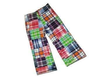 Boy's Plaid Pants, Tartan Trousers - Lime, Orange, Purple, Red, White - M2