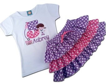 Girl's Cutie Doc Birthday Shirt with Name and Coordinating 3-Tiered Ruffle Skirt -  F30, F16