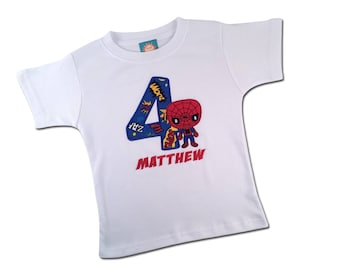 Superhero Birthday Shirt with Spider kid and Embroidered Name