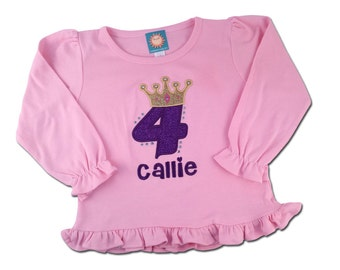 Girl's Princess Birthday Shirt with Glitter Princess Crown and Name, Includes BLING