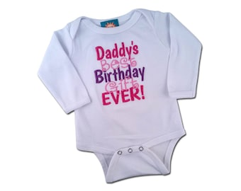 Baby Girl 'Daddy's Best Birthday Gift Ever' Embroidered Bodysuit