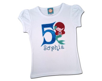 Girl's Little Mermaid Birthday Shirt with Water Droplet Number and Name