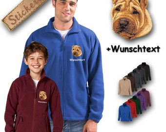 Cosy fleece jacket jacket embroidery embroidered dog CHINESE SHAR-PEI + Own Words