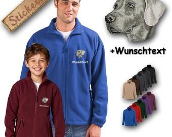 Cosy fleece jacket jacket embroidery embroidered dog WEIMARANER + Own Words