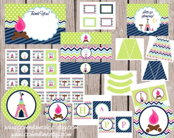 INSTANT DOWNLOAD Printable Chevron Glamping Birthday Party Package. Digital You Print Party Package. Girls Cammping Printable Party Package
