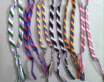 Queer Pride Trans Pride String Friendship Bracelets; LGBTQA+ Pride Flag Bracelets