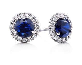 Sapphire Diamond Martini Style Stud Earrings 14k White Gold Genuine Diamond Halo Center Round Sapphire White Gold Earrings