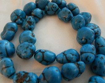 "Medium Blue Nugget Beads - Dark Blue Synthetic Nugget Beads - 15"" Bead Strand"