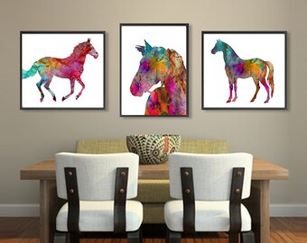 Horse art print watercolor painting horse decor animal art, horse art, illustration art, kids room decor, set of 3 prints - 301/302/308