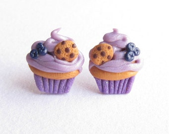Lavender Earrings, Blueberry Earrings, Stud Earrings, Fruit Earrings, Cute Earrings, Childrens Jewellery, Childrens Earrings, Girls Earrings