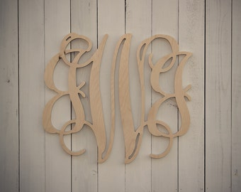 26 Inch Custom Wood Monogram - Unpainted Wooden Wall Letters - Home and Wedding Decor