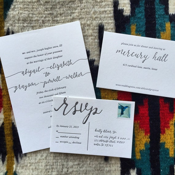 Hand Drawn Calligraphy Wedding Invitations By