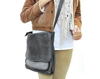 Sale!!! Women's leather messenger bag messenger leather bag Grey Leather laptop bag women handbag bags Studant School bag