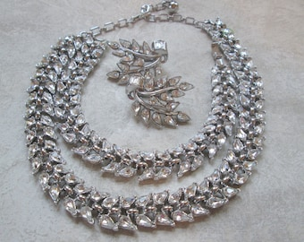 Signed Crown Trifari Set Clear Rhinestone Silver Necklace Demi Parure Earrings Bracelet Vintage