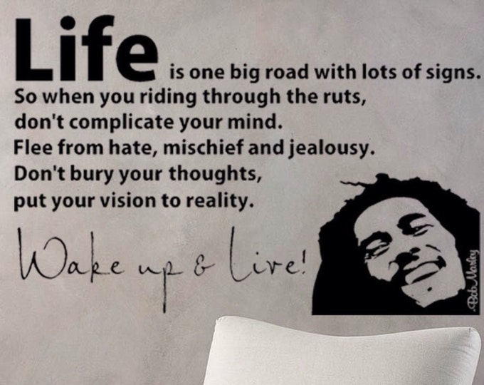 Bob Marley Wake up  and Live Wall Decal Vinyl sticker home decor famous quotes and phrases wall saying rasta reggae music life happiness