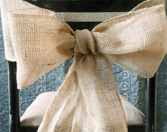 Wedding Burlap Chair Bow Sash, 7-inch, 3-yard