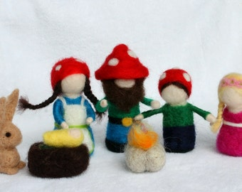 Needle felt family,Forest family with baby, fireplace and rabbit, gnome family, felt dolls