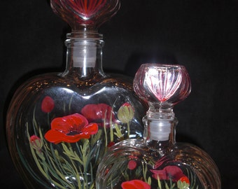 Large Heart shaped Glass Decanter hand painted with Poppies