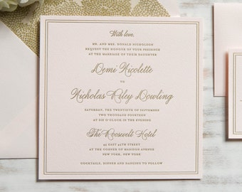 The Demi Suite | Metallic Foil Letterpress Invitation SAMPLE