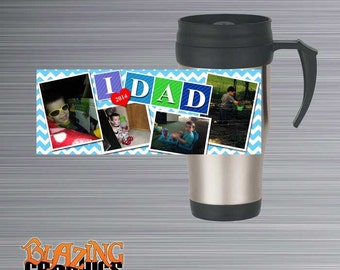 Personalize every morning cup of coffee or Tea on the Go with this high quality, durable,12 oz Personalized Photo Travel Mug - #MUG18SS