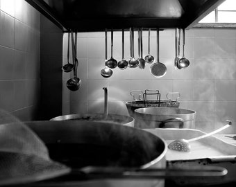 Restaurant Kitchen in Rome, Italy Print or Canvas