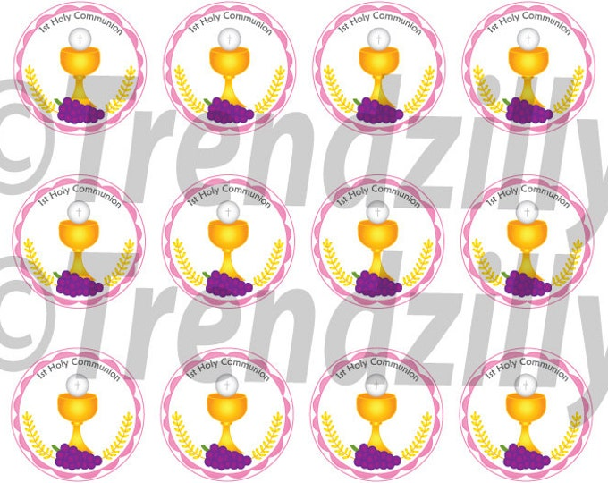 1st Communion Cupcake Toppers, Girl First Communion, 1st Communion Party Decor, Cupcake Topper, First Holy Communion, Printable download.