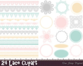 Instant Download Digital Lace Doily Clipart Lace Frame Lace Border Element Scrapbook Lace Clip Art Pink Blue Yellow Green Lace Element 0267