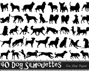 Instant Download 40 Digital Dog Silhouette Clip Art Black Dog Silhouette Clipart Scrapbooking Dog Element 0164