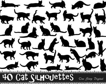 Instant Download 40 Digital Cat Silhouette Clip Art Black Kitty Silhouette Clipart Scrapbooking Cat Element 0224