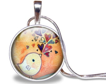Bird Necklace, Bird Pendant, Bird and Hearts, Lauren Alexander Pendant, Round Pendant, Jewelry, Colorful, Silver Plated, Birdie Necklace