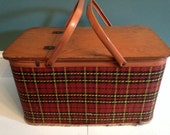 Vintage Redmon Plaid Picnic Basket