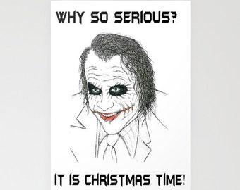 Christmas postcard with Joker / Batman / The Dark Knight  original design