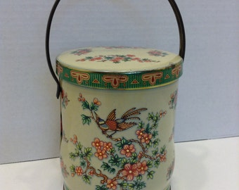 Vintage Daher Bird of Paradise Tin with handle