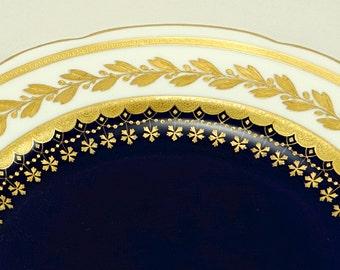 Antique Minton Cabinet Plate Gold Encrusted Cobalt Blue