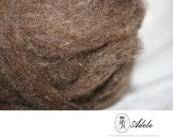 Natural Wool Roving: Romney, Hand-Raised & Hand-Loved (4 o.z.) - Brown
