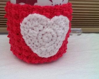 Red and White Heart Mug Cozy/Mug Hug