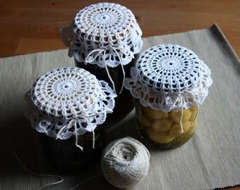 White Crochet Jar Lid Covers